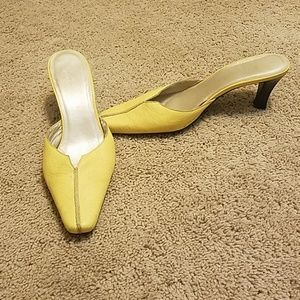 Yellow slip on mules